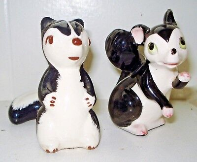 Vintage 2 1950's Porcelain Skunk Figurine Set Beautiful  Design Nr