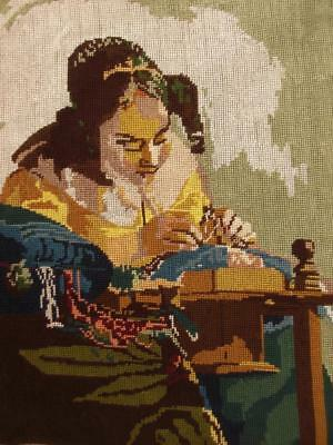 "Vintage completed  VERMEER cotton needlepoint tapestry The Lacemaker 14.5""x18"""
