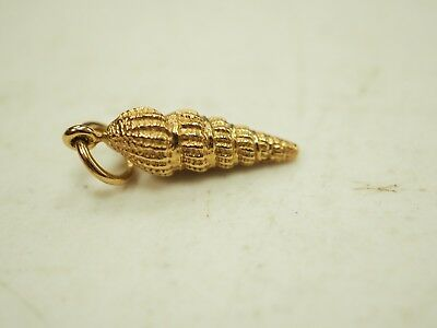 Beautiful 14k Yellow Gold 3D Conch Shell Pendant or Charm