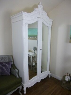 French Rococo Double Armoire Wardrobe In White -  Large Mirrored Wardrobe