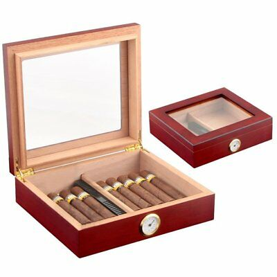Red Cedar Wooden Lined Cigar Storage Case Box w/ Humidor Humidifier Hygrometer