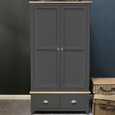 Dark Grey Painted Double Wardrobe Oak 2 Door Wardrobe Solid Wood Haywood