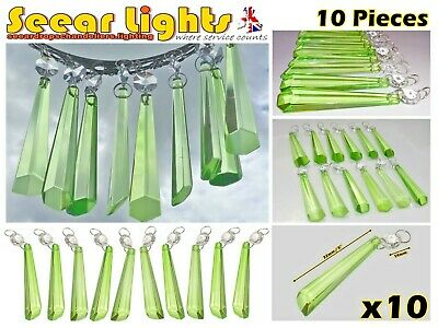 Sage Green Chandelier Light Parts 10 Glass Crystals Icicle Beads Drops Droplets