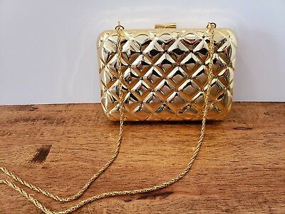 GOLD Vintage Wolborg HARD SHELL SIDED EVENING BAG CLUTCH Metal Chain  Handbag