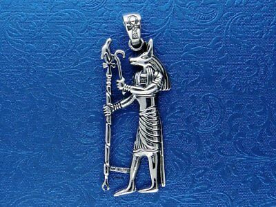 Sterling Silver Egyptian Egypt Anubis God Pendant - Solid 925 Silver - Magic