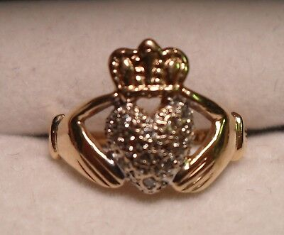 Vintage 14K White and Yellow Gold Claddagh Ring 9 Diamonds Size 6