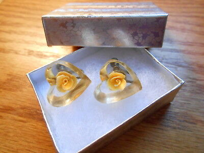Vintage Reverse Carved Lucite Yellow Rose Heart Screw Back Earrings 7/8 inch