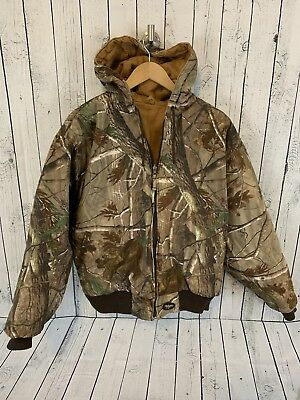 be059edab32fa WALLS Reversible Duck Canvas Hooded Full Zip Insulated Jacket Tan Camo Large