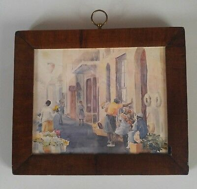 ANTIQUE 1800s WOOD FRAME MARGARET CARTER watercolor PRINT Charleston SC Flowers