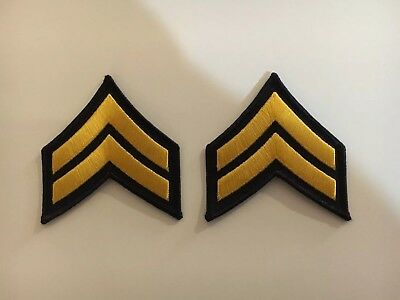 New Police Corporal Cpl Chevrons Navy Blue/Yellow Pair