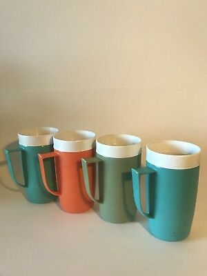 Set Of 4 Plastic Sunfrost Therm-o-Ware Mid-Century Drinking Glasses/Mugs