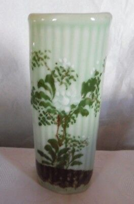 Antique Chinese Celadon Hand Painted Wall Pocket Vase