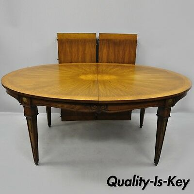 Karges French Regency Style Oval Sunburst Inlaid Dining Table with Two Leaves