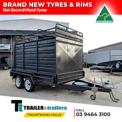 12x6 TANDEM AXLE HEAVY DUTY STOCK CRATE TRAILER | AUSSIE MADE + NEW WHEELS
