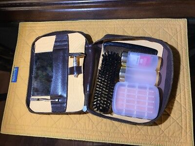 Vintage Gillette Safety Razor Travel Set, G2 New Brush Case 1 Blade