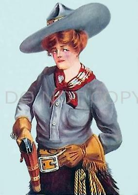 Antique 8X10 Repro Photo Print Cowgirl Stetson Hat Six Gun Pistol Holster