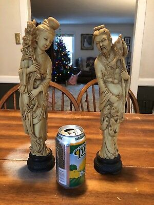 Antique Carved Asian Chinese Oriental Women Grains Ivory Color Statues Not Japan