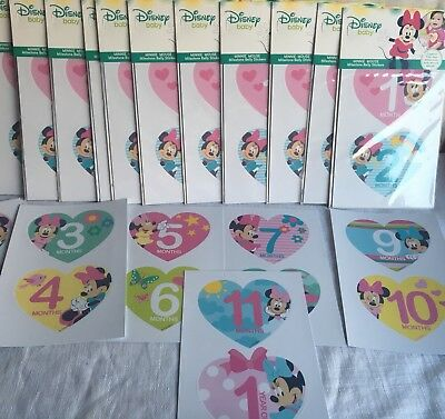 Wholesale Lot Disney Baby Girl Minnie Mouse Milestone Belly Stickers Photo Prop