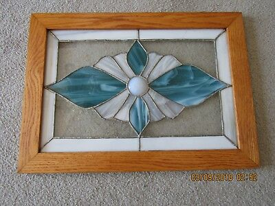 """Vintage Stained Glass Leaded Window Art Deco  -  Framed 15"""" x 21"""""""