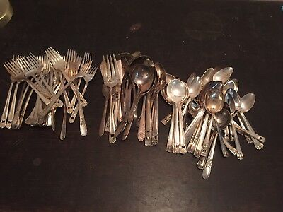Mixed Vintage Lot 98 SILVERPLATE Spoons Forks Serving Pieces Crafts