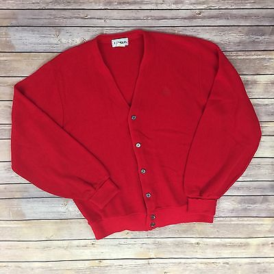 Vintage Izod Crest Sweater Cardigan XL Red Button Up Acrylic Hipster 1980s