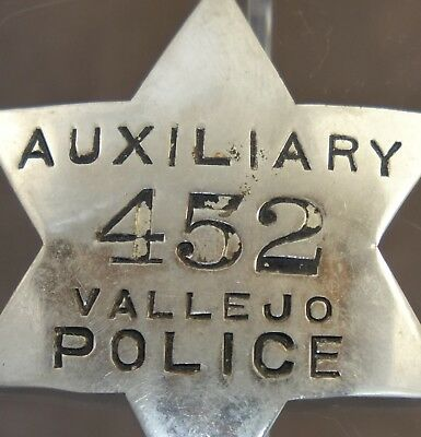 Vintage Obsolete 1930's Auxiliary Police Vallejo California Badge