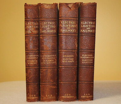 Antique 1901 Electric Railway & Lighting Leather Textbook Railroad Collectible