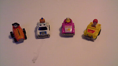 1984 1985 Vintage McDonalds Fast Macs Pull'em Back Friction Race Car - Set of 4