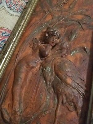 """Aesthetic Antique/Vntg bas-relief Wall Art Cupid w/ Stork, Frog """"3-D"""" Iridescent"""