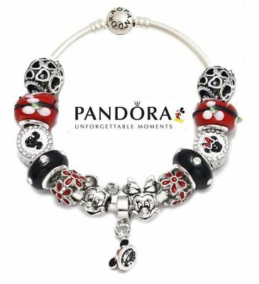 Authentic Pandora Charm Bangle Bracelet with 13 Disney Mickey Minnie Mouse Beads