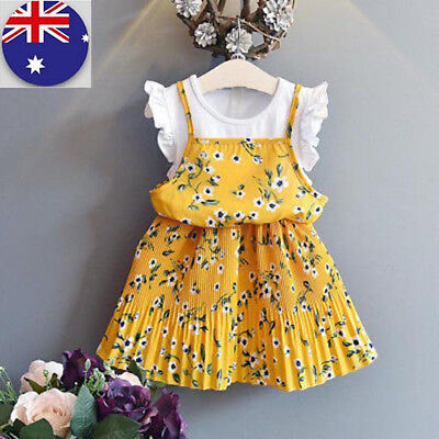 AU Infant Kids Girl Yellow Outfits Clothes Flower Party Princess Beautiful Dress