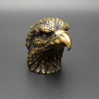 China Exquisite Old Handwork Brass Lucky Eagle Statue Office Home Decorate