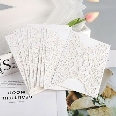 10P Elegant Wedding Invitations Cards Laser Cut Pearl Gold Insert Envelope White