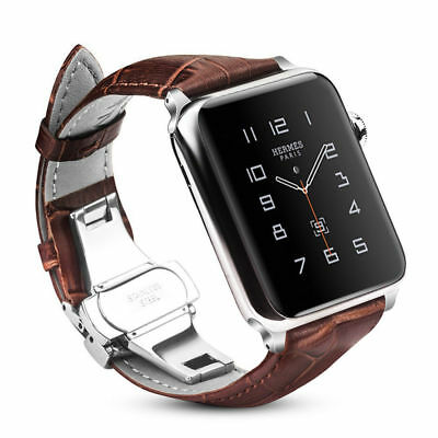 For New iWatch Apple Watch Series 4 40/44mm Genuine Leather Strap Band Bracelet