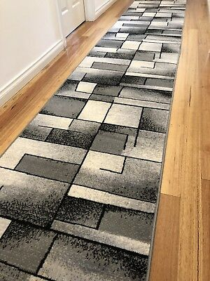 Deanna Black White Grey Abstract Hallway Runner Hall Runner Rug 3 Metres Long