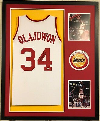 HAKEEM OLAJUWON FRAMED and Autographed Red Rockets Jersey JSA COA D1 ... 2e7dacbe2