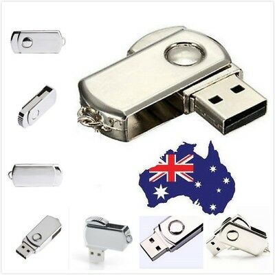 AU - 10 Pack Metal Silver USB 1.0/1.1 Flash Drives Swivel Design U Disk, 8MB