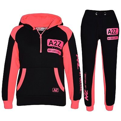 Kids Girls Jogging Suit Neon Pink Designer's Tracksuit Zipped Top Bottom 5-13 Yr