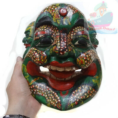 China Folk Art Wood Hand Carved Painted NUO MASK Walldecor-Happy Buddha tall25cm