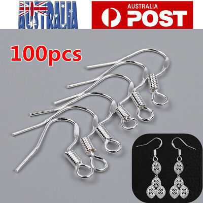 925 Sterling Silver Earring Hooks Wire 100pcs Hypoallergenic Ear Wire DIY AU