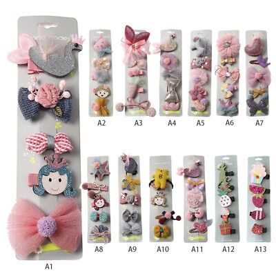 Toddler Kids Baby Girl Hairpin Cartoon Animal Princess Bow Hair Clip Hairpin Set