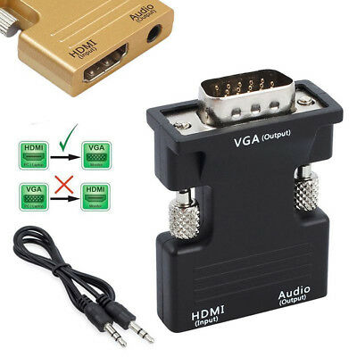 HDMI Female to VGA Male with Audio Output Cable Adapter Converter 3.5mm 1080P
