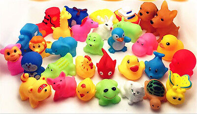 Cute 13Pcs Mixed Animals Colorful Soft Rubber Float Squeeze Baby Wash Bath Toy R