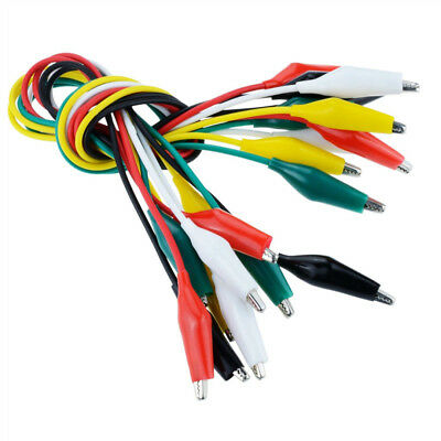 10Pcs Colorful Double Ended Alligator Clips Test Lead Jumper Wires Durable