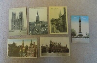 Collection of 6 Old Postcards of Belgium Unposted