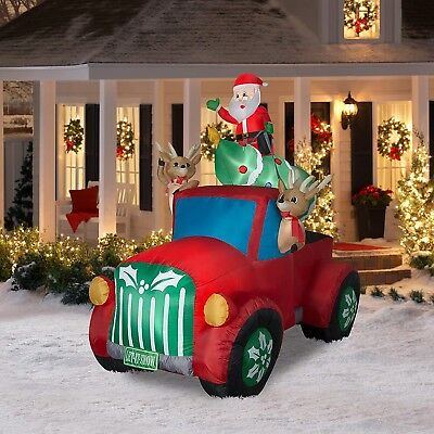 SANTA CLAUS REINDEER CHRISTMAS TREE in Retro Truck INFLATABLE 8' WIDE