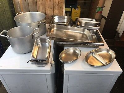 Gastronorm Stainless Steel Trays And Various Cooking Pots. Sold As Job Lot. A