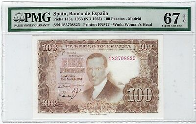 Spain, 1953 ND(1955) 100 Pesetas P-145a PMG 67 EPQ