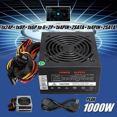 1000W Power Supply PSU PFC SATA 24-PIN Silent Fan ATX Computer PC Active Gaming