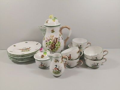 Herend Chtm Hunter Thophies Hunting Coffee Service for 5 People